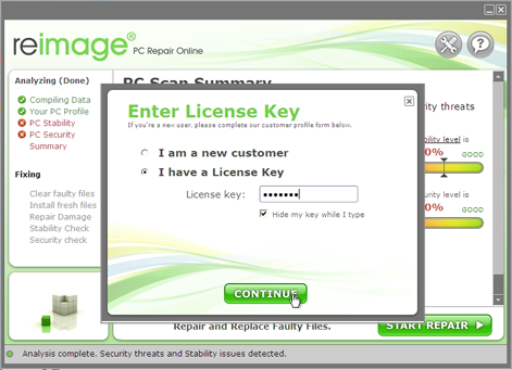 activate your license key to start repairing your pc